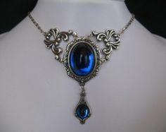 Set collana e orecchini Victorian/Ren/gotico/medievale/matrimonio/Edwardian/Prom / / vacanze di Natale/Scegli la tua pietra di colore e dime...