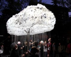 Nuit Blanche Calgary, Cloud installation made of lightbulbs and pull strings, light sculpture, interactive, cool installation
