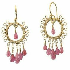 14k Gold Filled Earrings Tiny loops with pink sapphire Calico Juno. $110.00. 14K gold filled. 1 1/2 in length. gold filled. Pink Sapphire. Save 33% Off!