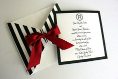 EDITABLE Printable Black and White Striped Square Wrap Invitation