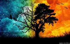 day and night tree painting - Google Search