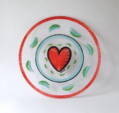 Kosta Boda - Large Heart Plate by Ulrica Hydman Vallien. Sweden. - Scandinavian modern. Collectible Contempoary Glass Art - Centerpiece