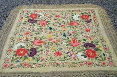 Antique chinese embroidered shawl