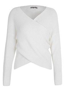 d145f6b3e8 BerryGo Women s Criss Cross Wrap V Neck Long Sleeve Knit Sweater Jumper  Wrap Sweater