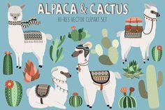 Llama and Cactus Clipart Bundle by Kenna Sato Designs on @creativemarket