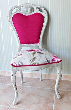 Silla vintage en gris decapado de bohemian & chic por DaWanda.com