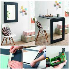 Super ideia! Mesa retrátil com espelho.