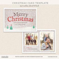 Chalk Christmas Card Template For Photoshop  Christmas Card