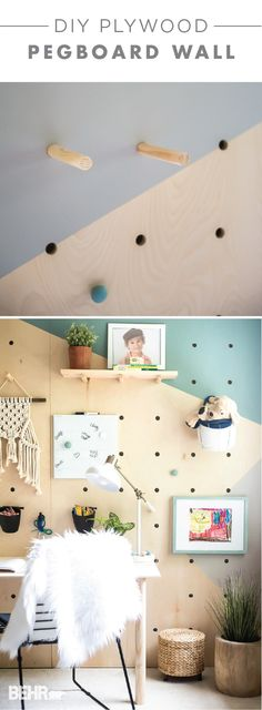 We're loving this DIY plywood pegboard wall from Aniko, of Place of My Taste. The BEHR 2018 Color of the Year, In The Moment, brings a splash of bright blue to this geometric wall mural. Meanwhile, the BEHR 2018 Color Trends shade Off The Grid acts as a neutral accent color. Wooden door knobs from Liberty Hardware and custom shelving add plenty of storage to this modern homework space. Explore the rest of Aniko's full tutorial.