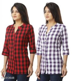 Shirts Comfy Cotton Women's Shirts Combo Fabric: Cotton  Sleeves: Sleeves Are Included  Size: S - 36 in M - 38 in L - 40 in XL - 42 in XXL - 44 Length: Up To 24 in  Type: Stitched Description: It Has 2 Piece Of Women's Shirts Pattern: Checkered Country of Origin: India Sizes Available: S, M, L, XL, XXL   Catalog Rating: ★3.9 (467)  Catalog Name: Trendyfrog Comfy Cotton Women'S Shirts Combo Vol 1 CatalogID_308694 C79-SC1022 Code: 464-2313648-1911