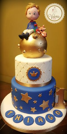 Little prince cake! Little prince cake! The Little Prince Theme, Little Prince Party, Boys 1st Birthday Cake, Prince Birthday Party, Bolo Fack, Prince Cake, Cakes For Boys, Cake Creations, Fondant Cakes