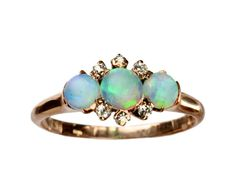 1900s Edwardian Three Opal and Mine Cut Diamond Ring, 14K Yellow Gold: Erie Basin Antiques