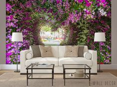 Photo WALLPAPER Flower Blossom Path MURAL Tree Tunnel Living Room WALL ART