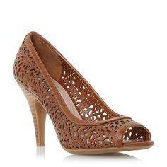 DUNE LADIES COLETTE - Laser Cut Peep Toe Leather Court Shoe - tan   Dune Shoes Online