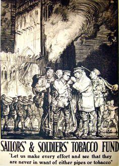 1915 Original British Art Nouveau Poster, Soldiers/ Sailors Tobacco Fund - Brangwyn