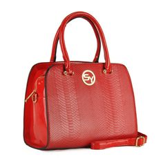 EDEL ROT REPTIL LACK GOLD DAMEN HANDTASCHE MESSENGER PU SHOPPER BAG BUSINESS SY