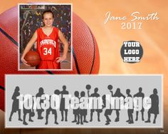 """The perfect way to display your athlete and their basketball family! :: Example ::  Sport -- Basketball :: Product -- """"Style 4"""" Pano Mate 
