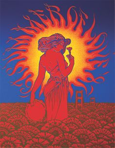 108_67 Summer of Love - Alton Kelley, Victor Moscoso, Rick Griffin, Wes Wilson, and Stanley Mouse, '67 Summer of Love Twenty-Year-Anniversary Collaboration, 1987, oil on canvas.