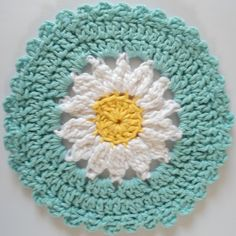 This might be a crochet project you'd like @Morgan Gruen since it's simple, daisies and useful (It's a dishcloth).