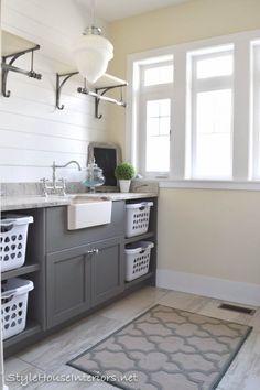 Open shelving+shiplap walls in a laundry room. Love!