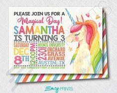 Unicorn Birthday Invitation Unicorn Invitation Unicorn Party Unicorn Invite Watercolor Unicorn Rainbow Unicorn Girls 1st Birthday Printable