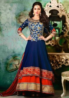 Shraddha Blue and Red Layered Anarkali
