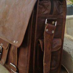 Large Men Leather Messenger Bag Briefcase shoulder leather satchel