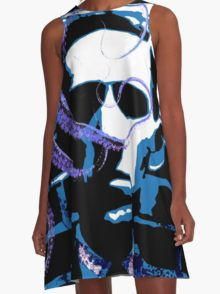 H. P. Lovecraft A-Line Dress  by Scar Design #summerclothing #summervacationsdress #beachdress #beach #summerfashion #giftsforher #gifts #giftsforteens #summergifts #womensfashion #hipster #colorful #style #swag #sunset #sunsetdress #dress #summerdress #s