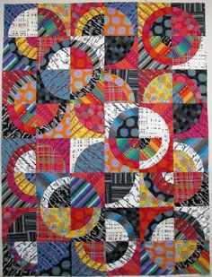 Exuberant Color, Wanda Hanson - all Keiko Goke Japanese fabrics, cut with Strips 'n Curves templates sets 1 and Quilt Block Patterns, Quilt Blocks, Quilting Projects, Quilting Designs, Quilt Inspiration, Drunkards Path Quilt, Plaid Quilt, Circle Quilts, Quilt Top