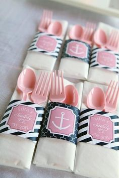 Hostess with the Mostess® - Preppy Nautical Pink and Navy 1st Birthday Party #NauticalPartyIdeas #Pink