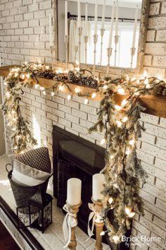 Neutral Christmas Mantel A Cozy Family Room