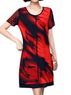 4c87b07bbd8d7 Elegant Women Chiffon Dress Patchwork Flowers Printing Two Layers Dresses -  Elegant Chiffon Gowns