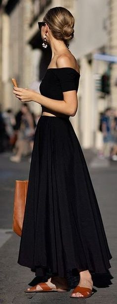 #spring #fashion | Black OTS Maxi Dress |The Sartorialist