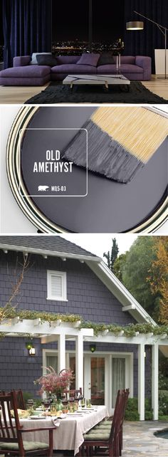 Check out the inspiration behind the BEHR Paint Color of the Month: Old Amethyst. This stunning dark gray color will add a touch of elegance to any room in your home. Pair with gold, silver, and white accents to make this modern paint color truly shine. House Paint Exterior, Exterior Paint Colors, Exterior House Colors, Gray Exterior, Siding Colors, Exterior Siding, Exterior Remodel, Exterior Design, Wall Exterior
