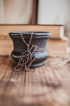 Raven necklace - wire copper jewelry pendant - for him or for her