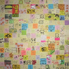 Post-It Note Art Collage (PINAP), would be neat to frame something like this for the play room.