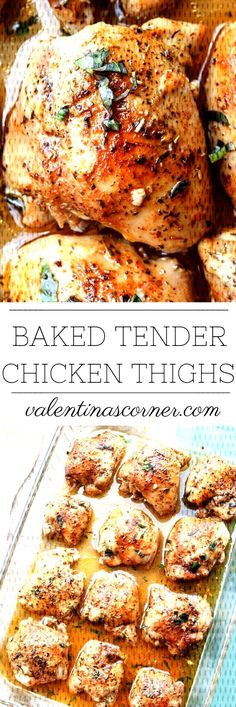 #chicken #tender #thighs #recipe #baked #juicy #oven #dish #and #one #pan #a Oven Baked Juicy and Tender Chicken Thighs Recipe. A one pan dish.Oven Baked Juicy and Tender Chicken Thighs Recipe. A one pan dish.Oven Bake... Healthy Chicken Thigh Recipes, Healthy Soup Recipes, Roast Recipes, Chicken Recipes, Dinner Recipes, Boneless Chicken Thighs, Chicken Tenders, Oven Dishes, Food Dishes