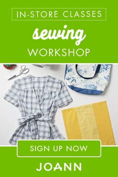 Interested in learning sewing basics? Click here to sign up for the Sewing Workshop in-store class at JOANN, where you'll learn how to sew various seams, insert a zipper, and read & follow a pattern. Online Craft Store, Craft Stores, Student Information, New Students, Joann Fabrics, Sewing Basics, Learn To Sew, Fabric Crafts, Craft Projects