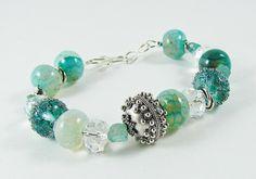 Blue Silver Handmade Lampwork Glass Bali Sterling Silver Focal Bead Agate  Bracelet on Etsy, $76.00