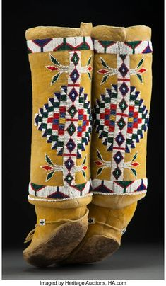 For Auction: 70109: A Pair of Apache Women's Beaded Hide Boot Moccas (#70109) on Nov 20, 2020 | Heritage Auctions in TX Native American Moccasins, First Nations, Seed Beads, Auction, Pairs, Yellow, Boots, Vintage, Beading