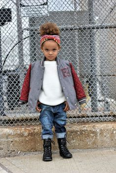 Children's street style featuring this gorgeous Fendi varsity jacket. Stop by our blog to see the full blog swap post.