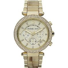 5a051c535 Michael Kors Women's Chronograph Parker Horn Acetate and Gold-Tone  Stainless Steel Bracelet Watch