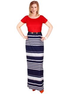 Printed Red & Navy Dress | Psdr-30130 | Cilory.com