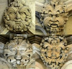 Green Men on roof bosses in Christchurch Cathedral, Oxford, England (photos Rex Harris)