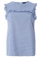 Womens Navy Gingham Sleeveless Top- Blue