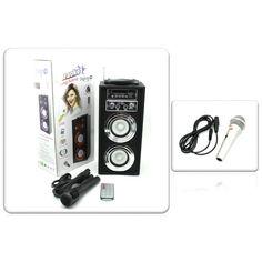 Pack Altavoz Karaoke Diseño Liso Purpurina con Micro y Mando más Otro Micrófono para Karaoke - Ideas de regalos ros