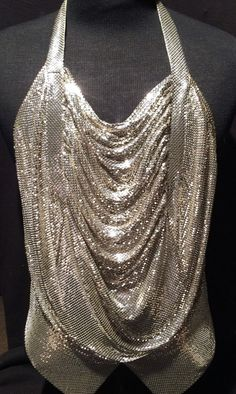 Nice Vintage 1970's Vintage Whiting and Davis Metallic Silver Halter / Blouse Top