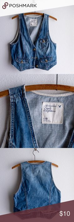 American Eagle denim vest American Eagle denim vest | Three button, front pocket detail, Medium wash, perfect condition. American Eagle Outfitters Jackets & Coats Vests