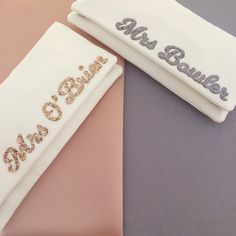 Finishing the week with more MRS surname clutches, in rose gold and grey/silver 👌🏻