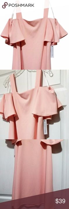 "NWT Emma & Michele Pink Cold Shoulder Dress This ruffle sleeve cold shoulder shift dress will be a stylish addition to your wardrobe. It strikes the perfect balance of sweet and sophisticated. Square neck, 1 1/2 inch straps, short ruffle sleeves with shoulder cutout. Pullover style. Color: Blush Pink (pastel pink)  Approximate flat measurements for reference only: Length - 36"" Bust across - 18"" Sleeve length - 8"" Emma & Michelle Dresses"